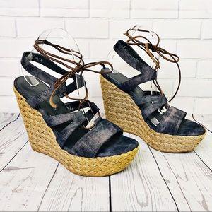 Stuart Weitzman Denim Platform Espadrille Sandal